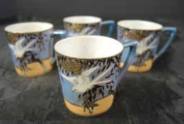Four VintageBlue & Peach Luster Flying Cranes Chocolate or Demitasse Cups - $14.24