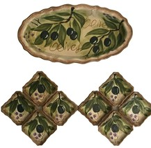 Olives by Tabletops Unlimited Bread Plate Dipping Set Hand Painted Collection - $49.45