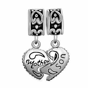 ? 925 Sterling Silver Heart Mother Son Charm Beads Pandora Bracelet Mom Love ? image 3