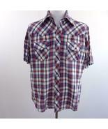 Lariat Blue Plaid Western Cowboy Pearl Snap Front Shirt, Mens Sz L - $28.93