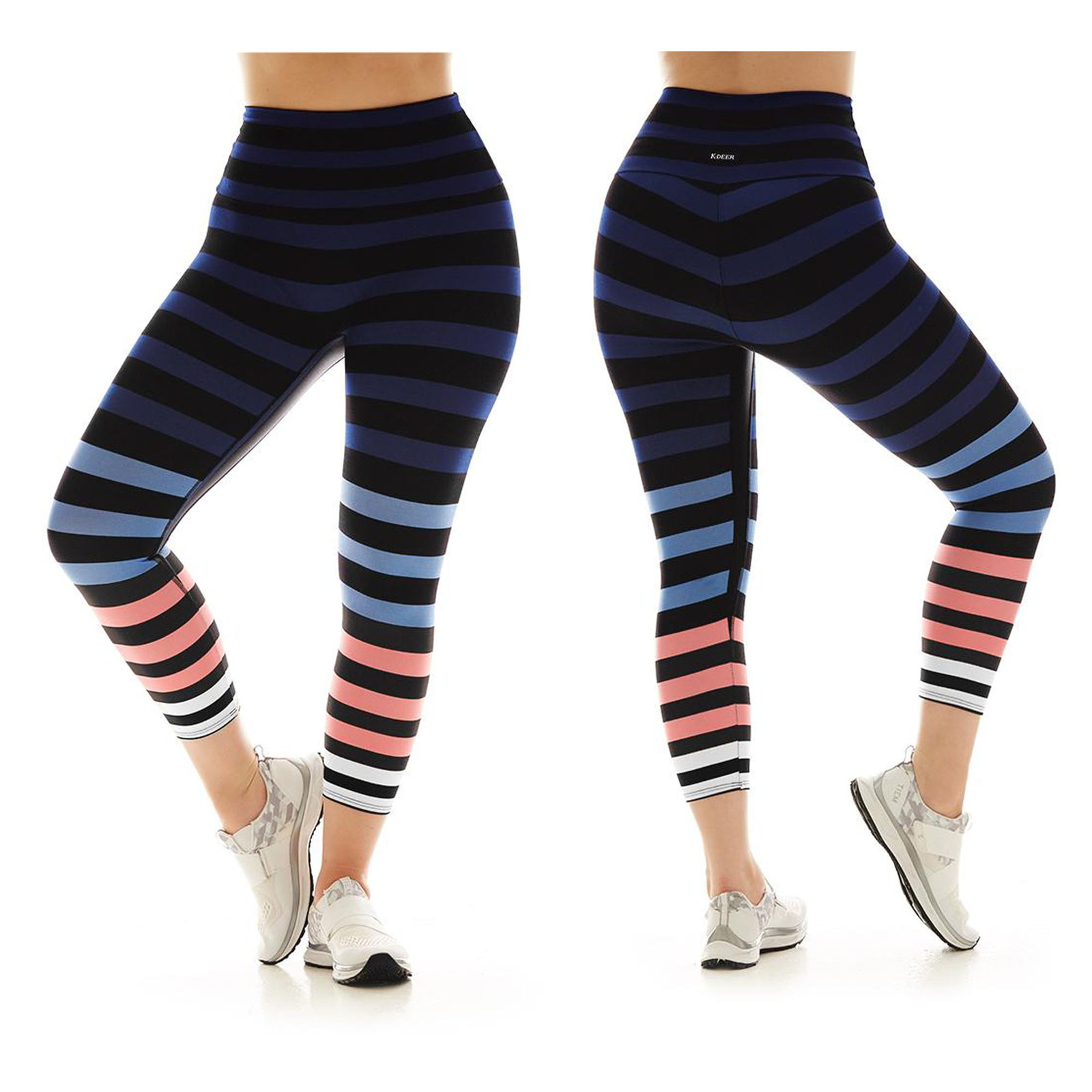 K-Deer Women's Blue/Coral/White Molly Stripe Capri Length Leggings, XS-4X