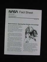 NASA Fact Sheet December 1990 Space Science Opening New Worlds Of Knowledge - $9.86