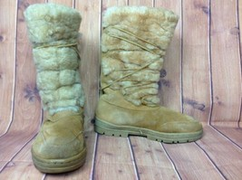 J Crew Suede Leather & Fuzzy Shearling Boots Womens Sz 8 8M Beige Mid Calf - $32.95