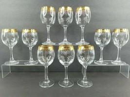 """10 Cellini Water Goblets Set 7 1/4"""" Elegant Etched Crystal 24K Gold Glas... - $128.57"""