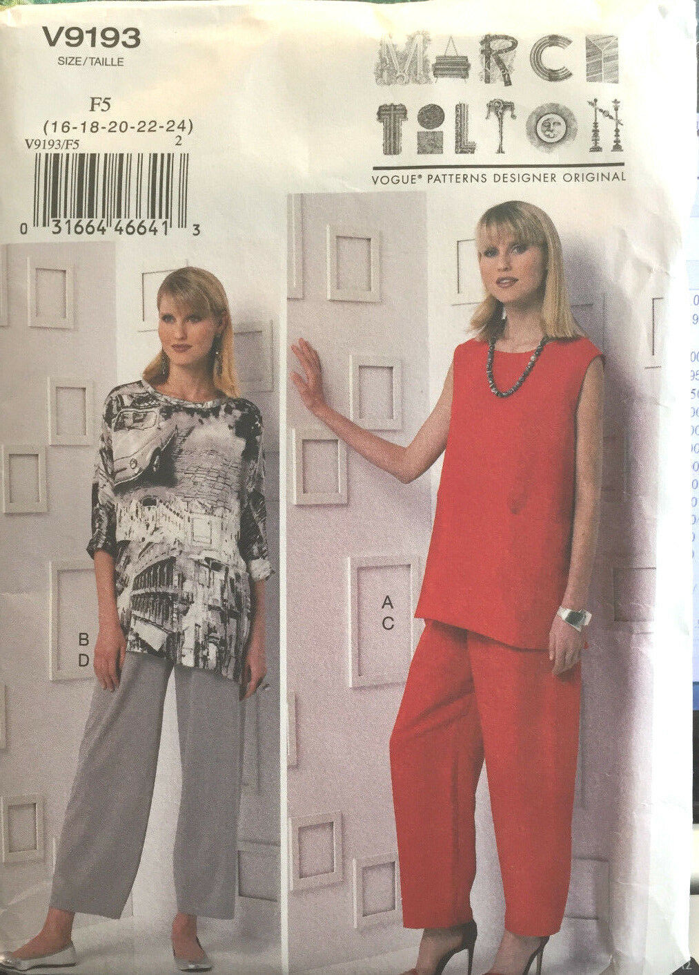 Primary image for Vogue 9193 Misses Tunic Pants Sizes 16-24 Vintage Sewing Pattern Uncut