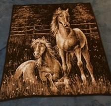 Biederlack of America Throw Blanket Horses Running Reversible 2 Side Bro... - $59.35
