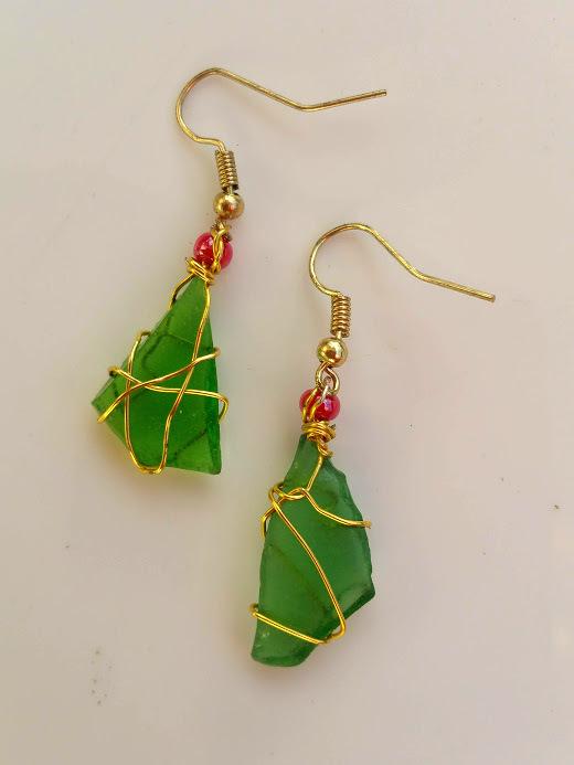 Festive Shores 1: Green Estonian sea glass, golden wirework, red beads, earrings