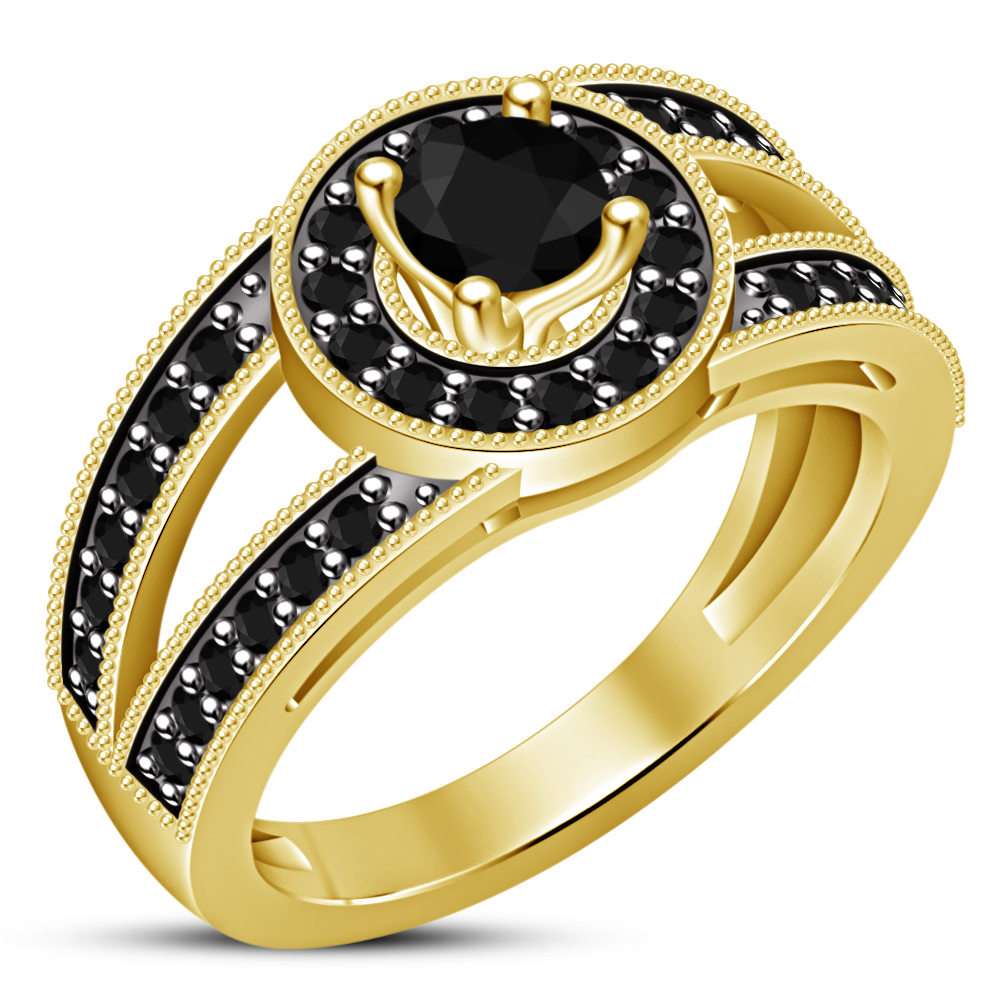 Round Cut Black CZ Solitaire With Accents Ring 14k Yellow Gold Plated 925 Silver