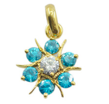 resplendent blue topaz cz Gold Plated Blue Pendent Glass indian US - $15.04