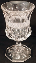 EAPG U.S. Glass Crystal Virginia or Diamond Banded Portland Footed Goble... - $39.99