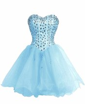 Short Sweetheart Organza Beaded Homecoming Dress Lace Up Back,Short Prom... - $112.00