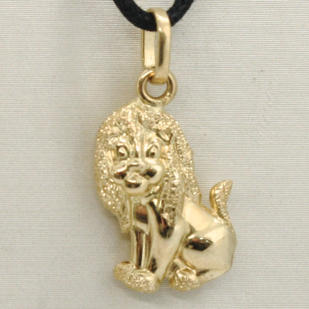 18K YELLOW GOLD ROUNDED LION PENDANT CHARM 24 MM SMOOTH & SATIN, MADE IN ITALY