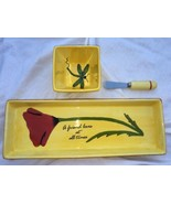 ViMi Designs Ceramic Flower Dragonfly Serving Set Canapé Tray Dip Dish S... - $11.88