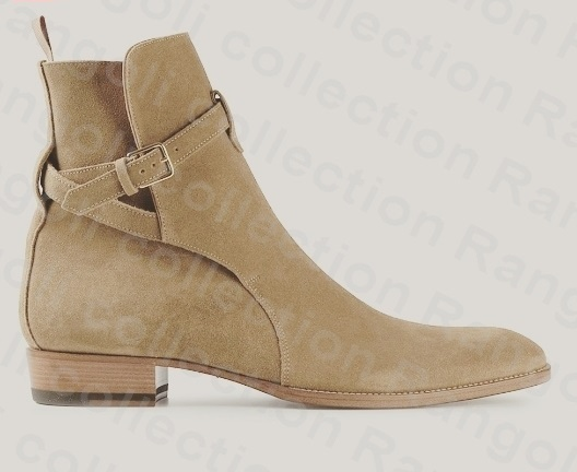 Handmade jodhpurs ankle boot, Men beige ankle high suede leather boot, Mens boot
