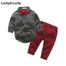 Gentleman baby boy clothes newborn long sleeve plaid jumpsuits+ casual p... - $21.10