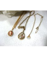 3 Dainty Chain Necklaces - Cameo, 1928 Rose, Cr... - $9.99