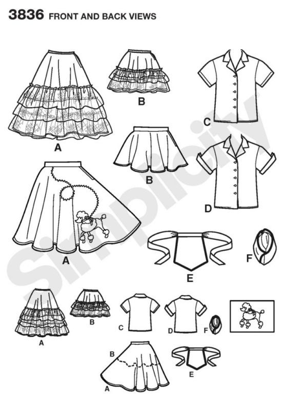 Simplicity 3836 Childs' Soda Fountain Diner Poodle Hop Costume Pattern 3,4,5,6