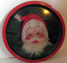 Vintage Retro Round Tin SANTA CLAUS Tray // Decorative Christmas Tin Tray - $6.99