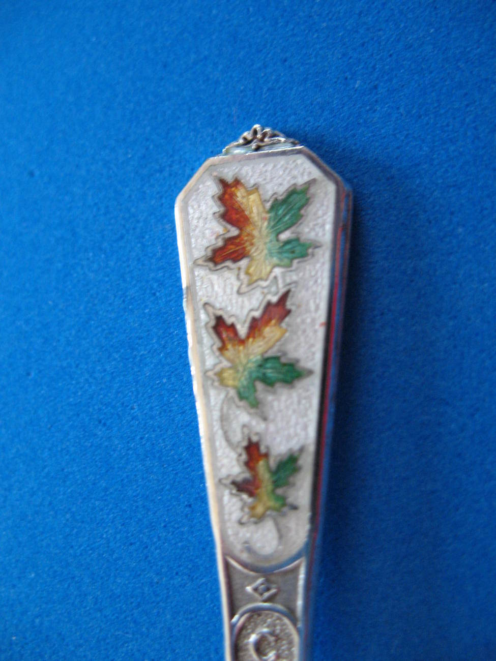 Canada Maple Leafs Sterling Silver Souvenir Spoon Vintage Enamel Collector