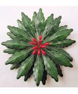 Vintage retro enameled metal flower pin brooch Christmas Poinsettia or H... - $20.00