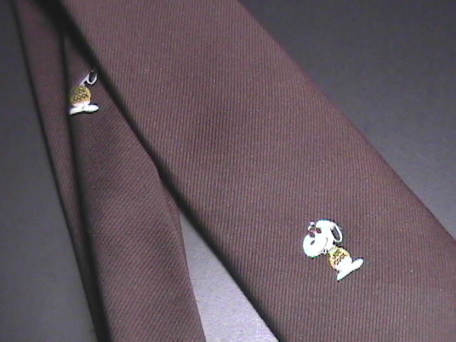 Peanuts Dress Neck Tie Chocolate Brown Polyester Snoopy Joe Cool with Sunglasses