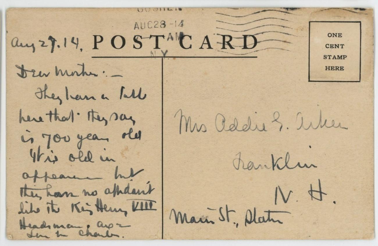 Goshen Inn advertising vintage postcard New York Quinn 1914 hotel Victorian