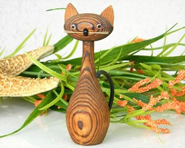 Vintage Japanese Cryptomeria Wood Carved Kitty Cat Figurine - $16.95