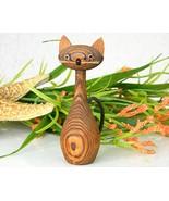 Vintage Japanese Cryptomeria Wood Carved Kitty Cat Figurine - $16.95