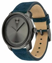 BRAND NEW MOVADO 3600454 GUNMETAL GREY DIAL BLUE BAND MEN'S WATCH - £234.96 GBP