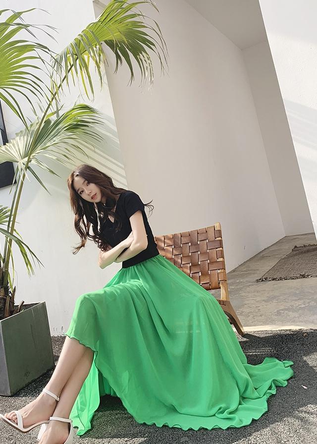 Green chiffon skirt 2