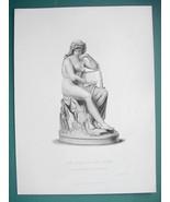 NUDE Sclpture Art Lorelei Rhine River Nymph Lyre - SUPERB 1850s Antique ... - $6.75