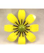 Vintage Retro Bohemian Yellow Enamel Metal Flower Power Pin  - $12.00