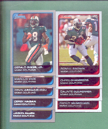 2006 Bowman Miami Dolphins Football Set