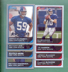 2006 Bowman New York Giants Football Team Set
