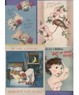 Lot 8 Vintage Greeting Cards Christmas Birthday Animals Holidays  - $9.99