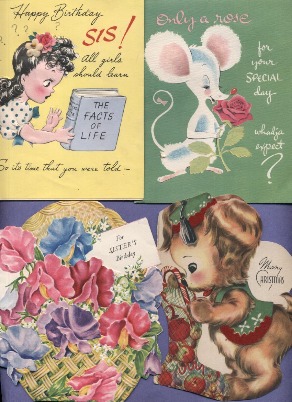 Lot 8 Vintage Greeting Cards Christmas Birthday Animals Holidays