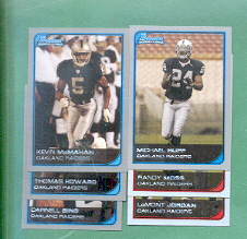 2006 Bowman Oakland Raiders Football Team Set