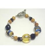 Blue & Amber Lamp Work, Glass, Gemstone & Crystal Silver Metal Bracelet - $19.99