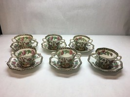 VINTAGE Coalport CHINA Indian SUMMER Pattern BULLION CUPS and Saucers CR... - $160.37