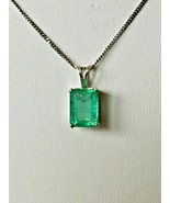 Green Emerald Faceted Rectangular pendant 1.75 ctw with 14k white gold c... - $519.70