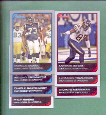 2006 Bowman San Diego Chargers Football Team Set