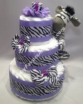 Zebra Diaper Cake - Purple / Green / Pink - for memorable Baby Shower - $87.00