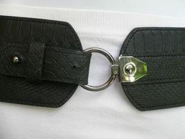 Cinturón para Dama Moda Hip Cintura Elástico Negro Ancho Imitación Piel de image 11