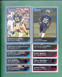 2006 Bowman St. Louis Rams Football Team Set