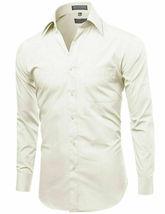 Omega Italy Men's Long Sleeve Solid Barrel Cuff Ivory Dress Shirt - Medium image 3