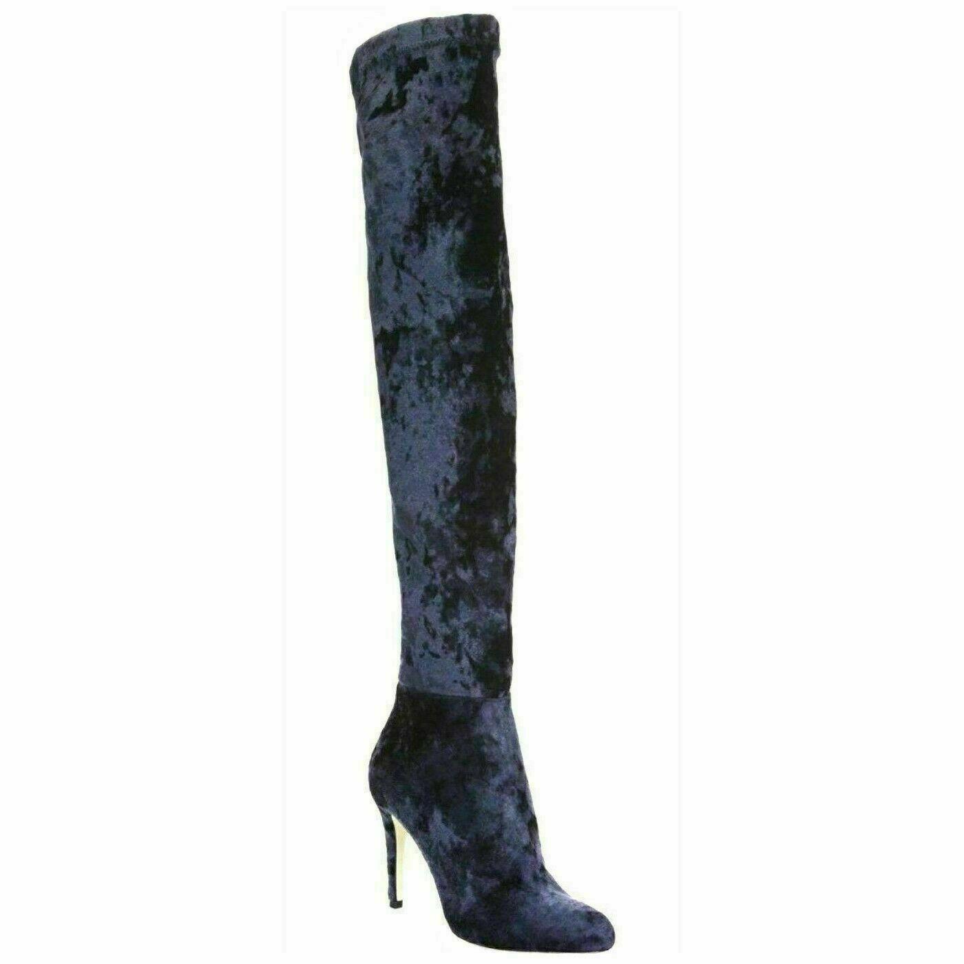 Jimmy Choo Women Over The Knee Sock Boots Size EU 38.5 US 8.5 Blue Velvet $1695 - $478.62