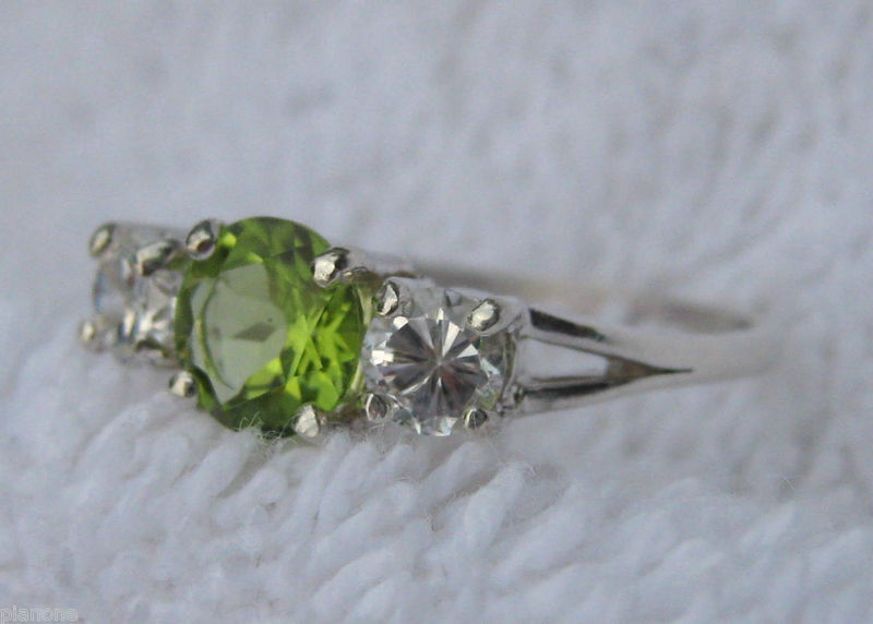 Peridot & CZ Sterling Silver 3-Stone Anniversary Ring