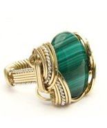 Wire Wrapped Malachite Two Tone Sterling Silver... - $150.00