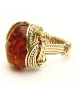 Wire Wrap Amber Two Tone Silver / 14kt GF Ring - $150.00