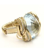 Wire Wrap Blue Topaz Two Tone Silver / 14kt GF ... - $190.00